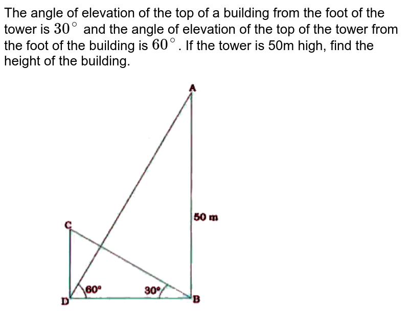 """The angle of elevation of the top of a building from the foot of the tower is `30^(@)` and the angle of elevation of the top of the tower from the foot of the building is `60^(@)`. If the tower is 50m high, find the height of the building <br> <img src=""""https://doubtnut-static.s.llnwi.net/static/physics_images/NVT_MAT_X_P2_C09_E01_009_Q01.png"""" width=""""80%"""">"""