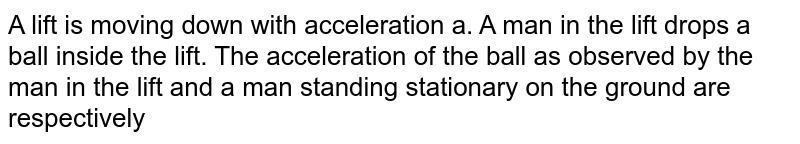 A lift is moving down with an acceleration a. A man in the lift drops a ball inside the lift. The acceleration of the ball as observed by the man in the lift, and a man standing stationary on the ground are respectively