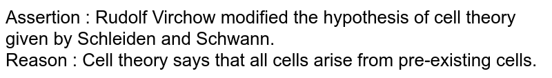 Assertion : Rudolf Virchow modified the hypothesis of cell theory given by Schleiden and Schwann. <br> Reason : Cell theory says that all cells arise from pre-existing cells.