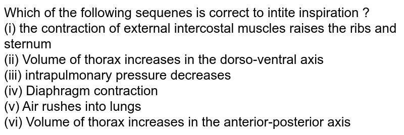 Which of the following sequenes is correct to intite inspiration ? <br> (i) the contraction of external intercostal muscles raises the ribs and sternum <br> (ii) Volume of thorax increases in the dorso-ventral axis <br> (iii) intrapulmonary pressure decreases <br> (iv) Diaphragm contraction <br> (v) Air rushes into lungs <br> (vi) Volume of thorax increases in the anterior-posterior axis