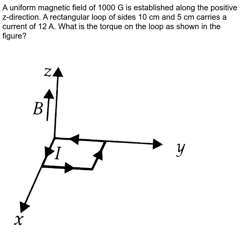 """A uniform magnetic field of 1000 G is established along the positive z-direction. A rectangular loop of sides 10 cm and 5 cm carries a current of 12 A. What is the torque on the loop as shown in the figure? <br> <img src=""""https://d10lpgp6xz60nq.cloudfront.net/physics_images/NCERT_OBJ_FING_PHY_XII_PP_01_E01_002_Q01.png"""" width=""""80%"""">"""