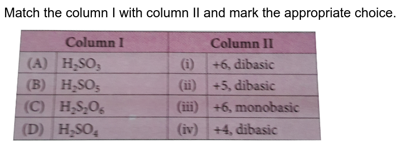 """Match the column I with column II and mark the appropriate choice. <br> <img src=""""https://d10lpgp6xz60nq.cloudfront.net/physics_images/NCERT_OBJ_FING_CHE_XII_C07_E01_060_Q01.png"""" width=""""80%"""">"""