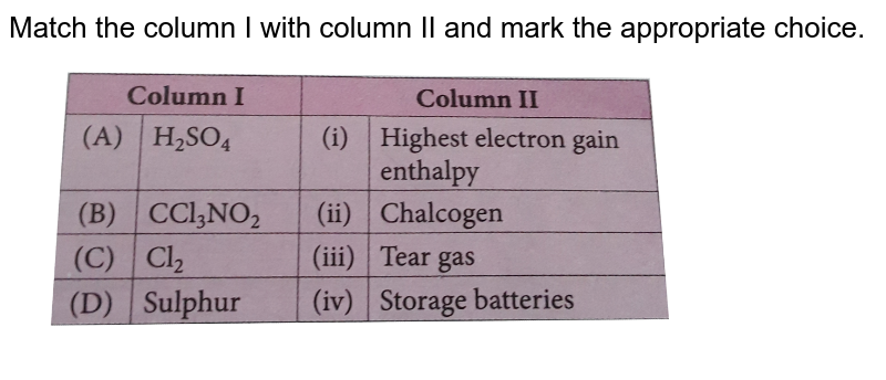 """Match the column I with column II and mark the appropriate choice. <br> <img src=""""https://d10lpgp6xz60nq.cloudfront.net/physics_images/NCERT_OBJ_FING_CHE_XII_C07_E01_078_Q01.png"""" width=""""80%"""">"""