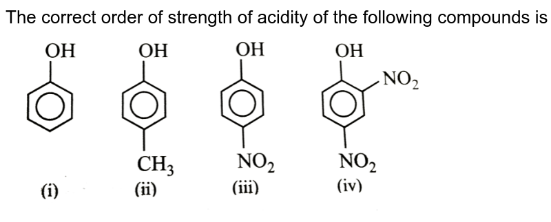"""The correct order of strength of acidity of the following compounds is <br> <img src=""""https://d10lpgp6xz60nq.cloudfront.net/physics_images/NCERT_OBJ_FING_CHE_XII_C11_E01_034_Q01.png"""" width=""""80%"""">"""