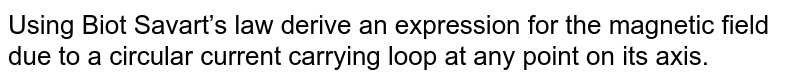 Using Biot Savart's law derive an expression for the magnetic field due to a circular current carrying loop at any point on its axis.