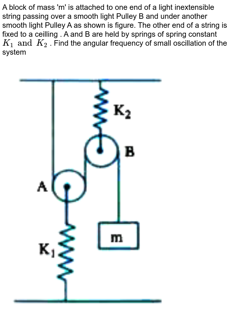"""A block of mass 'm' is attached to one end of a light inextensible string passing over a smooth light Pulley B and under another smooth light Pulley A as shown is figure. The other end of a string is fixed to a ceilling . A and B are held by springs of spring constant `K_1 and K_2` . Find the angular frequency of small oscillation of the system <br> <img src=""""https://doubtnut-static.s.llnwi.net/static/physics_images/AKS_ELT_AI_PHY_XI_V01_C_C05_E04_059_Q01.png"""" width=""""80%"""">"""