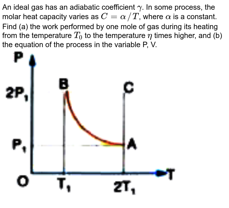 """An ideal gas has an adiabatic coefficient `gamma `. In some process, the molar heat capacity  varies as `C= alpha //T`, where `alpha ` is a constant. Find (a) the work performed by one mole of gas during its heating from the temperature `T_0` to the temperature `eta ` times higher, and (b) the equation of the process in the variable P, V.  <br> <img src=""""https://doubtnut-static.s.llnwi.net/static/physics_images/AKS_ELT_AI_PHY_XI_V01_D_C07_E05_029_Q01.png"""" width=""""80%"""">"""