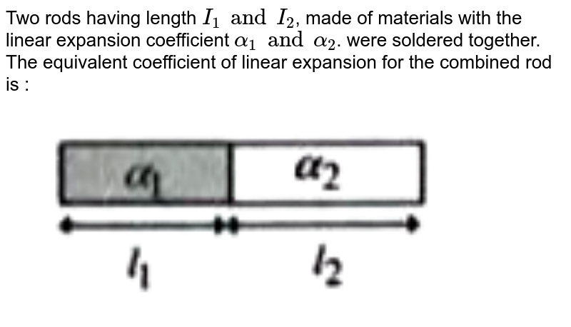 """Two rods having length `I_(1) and I_(2)`, made of materials with the linear expansion coefficient `alpha_(1) and alpha_(2)`. were soldered together. The equivalent coefficient of linear expansion for the combined rod is : <br> <img src=""""https://doubtnut-static.s.llnwi.net/static/physics_images/AKS_TRG_AO_PHY_XI_V01_D_C01_E02_006_Q01.png"""" width=""""80%"""">"""