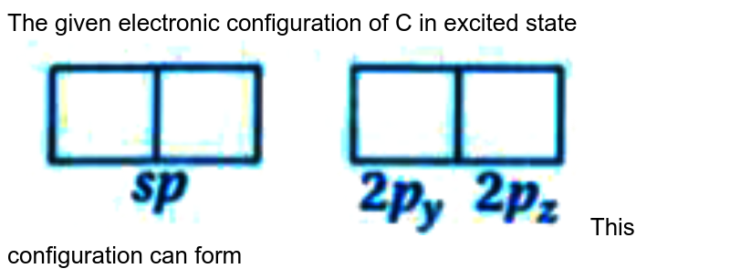 """The given electronic configuration of C in excited state <br> <img src=""""https://doubtnut-static.s.llnwi.net/static/physics_images/KPK_AIO_CHE_XI_P2_C12_E03_144_Q01.png"""" width=""""80%""""> This configuration can form"""