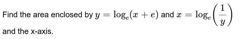 Find the area enclosed by `y= log_(e ) (x + e) and x= log_(e ) ((1)/(y))` and the x-axis