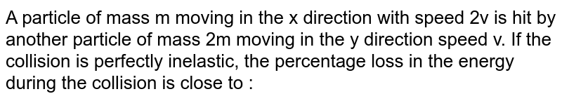 A particle of mass m moving in the x direction with speed 2v is hit by another particle of mass 2m moving in the y direction speed v. If the collision is perfectly inelastic, the percentage loss in the energy during the collision is close to :