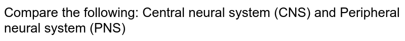 Compare the following: Central neural system (CNS) and Peripheral neural system (PNS)