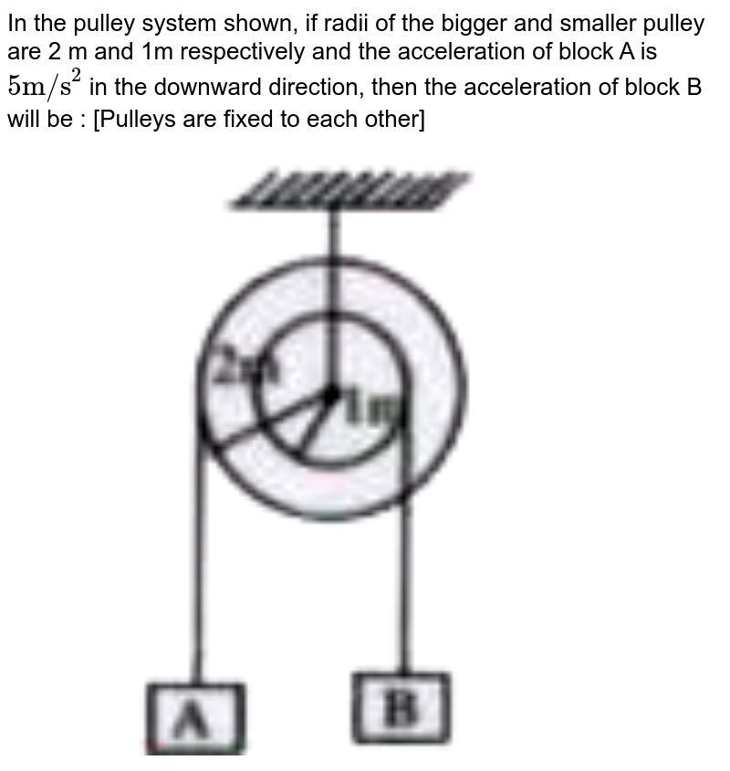 """In the pulley system shown, if radii of the bigger and smaller pulley are 2 m and 1m respectively and the acceleration of block A is `""""5m/s""""^(2)` in the downward direction, then the acceleration of block B will be : [Pulleys are fixed to each other] <br> <img src=""""https://doubtnut-static.s.llnwi.net/static/physics_images/AKS_TRG_AO_PHY_XI_V01_B_C03_E03_107_Q01.png"""" width=""""80%"""">"""