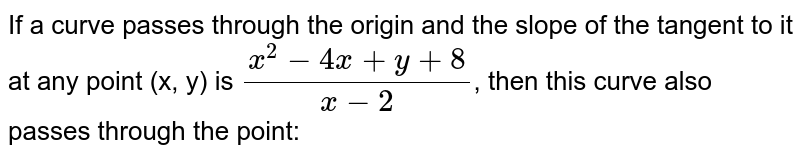 If a curve passes through the origin and the slope of the tangent to it at any point (x, y) is `(x^(2)-4x+y+8)/(x-2)`,  then this curve also passes through the point: