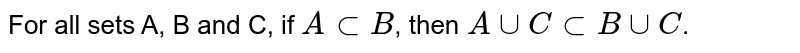For all sets A, B and C, if `A sub B`, then `A cup C sub B cup C`.