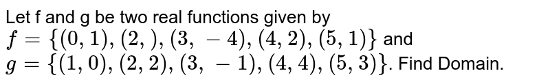 Let f and g be two real functions given by `f= {(0, 1), (2,), (3, -4), (4, 2), (5, 1)}` and `g= {(1,0), (2,2), (3,-1), (4,4),(5,3)}`