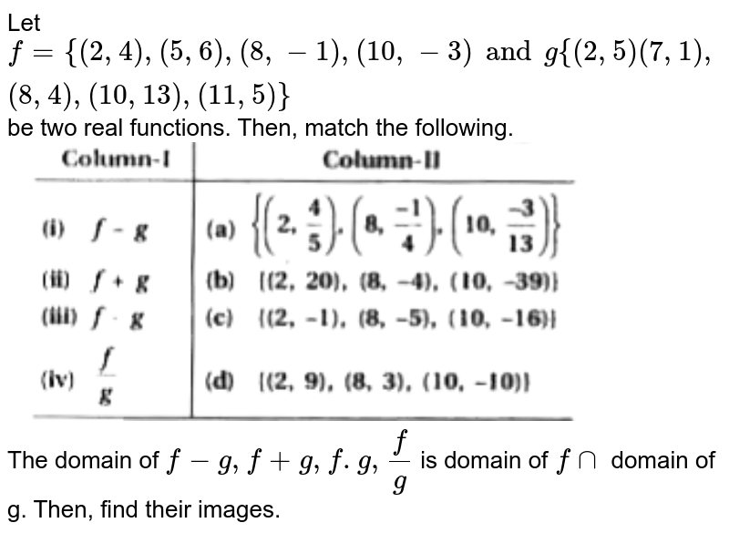 """Let `f= {(2,4), (5,6), (8, -1), (10, -3) and g{(2, 5) (7, 1), (8, 4), (10, 13), (11,5)}` be two real functions. Then, match the following. <br>  <img src=""""https://doubtnut-static.s.llnwi.net/static/physics_images/KPK_AIO_MAT_XI_C02_E08_067_Q01.png"""" width=""""80%""""> <br> The domain of `f-g, f+ g, f.g, (f)/(g)` is domain of `f nn` domain of g. Then, find their images."""