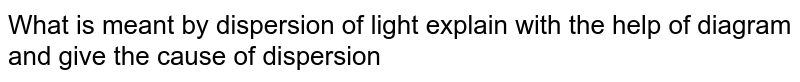 What is meant by dispersion of light explain with the help of diagram and give the cause of dispersion