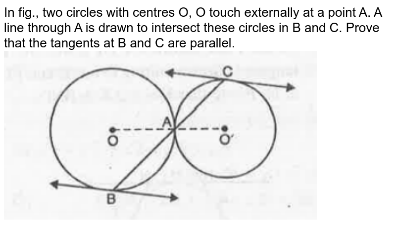 """In fig., two circles with centres O, O' touch externally at a point A. A line through A is drawn to intersect these circles in B and C. Prove that the tangents at B and C are parallel. <br><img src=""""https://doubtnut-static.s.llnwi.net/static/physics_images/MBD_MAT_X_C10_E02_010_Q01.png"""" width=""""80%"""">"""