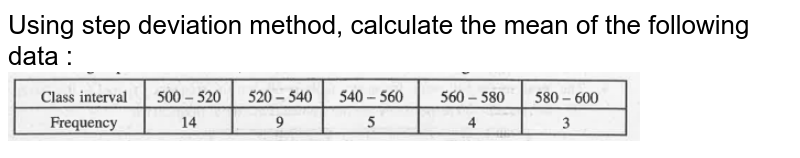 """Using step deviation method, calculate the mean of the following data : <br><img src=""""https://doubtnut-static.s.llnwi.net/static/physics_images/MBD_MAT_X_C14_E01_014_Q01.png"""" width=""""80%"""">"""