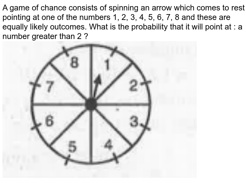 """A game of chance consists of spinning an arrow which comes to rest pointing at one of the numbers 1, 2, 3, 4, 5, 6, 7, 8 and these are equally likely outcomes. What is the probability that it will point at : a number greater than 2 ? <br><img src=""""https://doubtnut-static.s.llnwi.net/static/physics_images/MBD_MAT_X_C15_S01_026_Q01.png"""" width=""""80%"""">"""