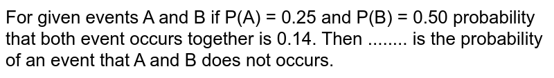 For given events A and B if P(A) = 0.25 and P(B) = 0.50 probability that both event occurs together is 0.14. Then ........ is the probability of an event that A and B does not occurs.