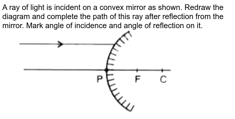 """A ray of light is incident on a convex mirror as shown. Redraw the diagram and complete the path of this ray after reflection from the mirror. Mark angle of incidence and angle of reflection on it.   <br> <img src=""""https://doubtnut-static.s.llnwi.net/static/physics_images/OSW_QB_SCI_X_C10_E01_029_Q01.png"""" width=""""80%"""">"""