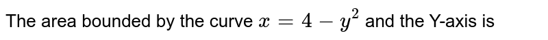 The area bounded by the curve `x = 4 - y^(2)` and the Y-axis is