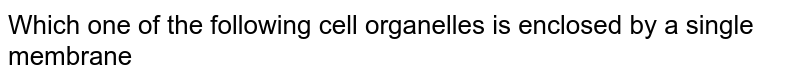 Which one of the following cell organelles is enclosed by a single membrane