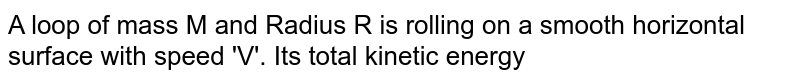 A loop of mass M and Radius R is rolling on a smooth horizontal surface with speed 'V'. Its total kinetic energy