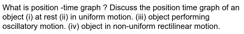 What is position -time graph ? Discuss the position time graph of an object (i) at rest (ii) in uniform motion. (iii) object performing oscillatory motion. (iv) object in non-uniform rectilinear motion.
