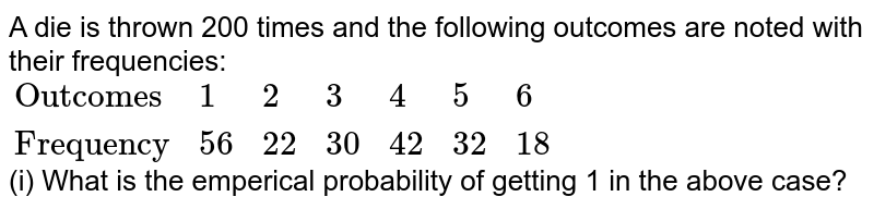 """A die is thrown 200 times and the following outcomes are noted with their frequencies: <br> `{:(""""Outcomes"""",1,2,3,4,5,6),(""""Frequency"""",56,22,30,42,32,18):}` <br> (i) What is the emperical probability of getting 1 in the above case?"""