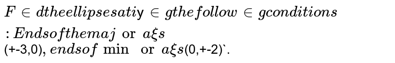 `Find the ellipse satisfying the following conditions: <br> Ends of the major axis`(+-3,0)`,ends of minor axis`(0,+-2)`.
