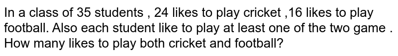 In a class of 35 students , 24 likes to play cricket ,16 likes to play football. Also each student like to play at least one of the two game . How many likes to play both cricket and football?