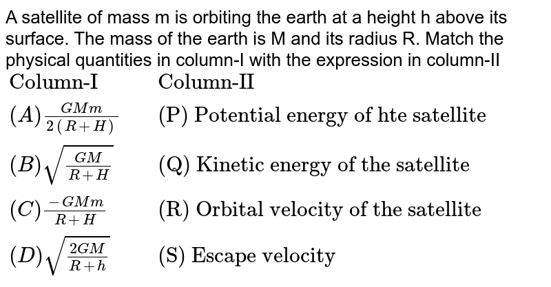 """A satellite of mass m is orbiting the earth at a height h above its surface. The mass of the earth is M and its radius R. Match the physical quantities in column-I with the expression in column-II  <br> `{:(""""Column-I"""",,""""Column-II""""),( (A)(GMm)/(2(R+H)),,""""(P) Potential energy of hte satellite""""),((B) sqrt((GM)/(R+H)),,""""(Q) Kinetic energy of the satellite""""),((C ) (-GMm)/(R+H),,""""(R) Orbital velocity of the satellite""""),((D) sqrt((2GM)/(R +h)),,""""(S) Escape velocity""""):}`"""