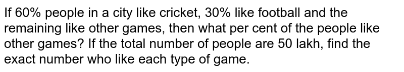 If 60% people in a city like cricket, 30% like football and the remaining like other games, then what per cent of the people like other games? If the total number of people are 50 lakh, find the exact number who like each type of game.