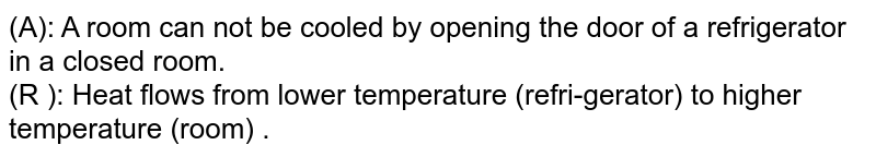 (A): A room can not be cooled by opening the door of a refrigerator in a closed room. <br> (R ): Heat flows from lower temperature (refri-gerator) to higher temperature (room) .