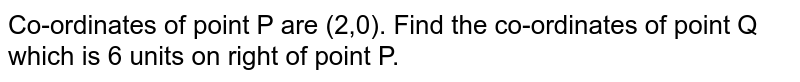 Co-ordinates of point P are (2,0). Find the co-ordinates of point Q which is 6 units on right of point P.
