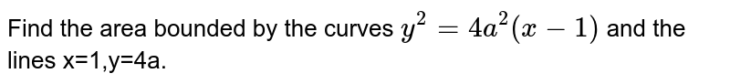 Find the area bounded by the curves `y^2=4a^2(x-1)` and the lines x=1,y=4a.