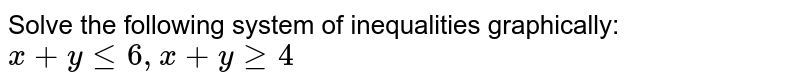 Solve the following system of inequalities graphically: `x + y le 6, x + y ge 4`