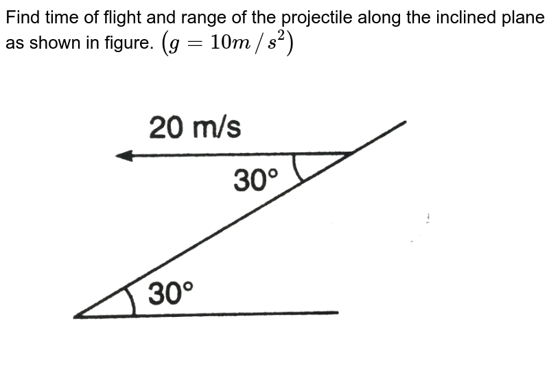 """Find time of flight and range of the projectile along the inclined plane as shown in figure. `(g = 10 m//s^2)` <br> <img src=""""https://d10lpgp6xz60nq.cloudfront.net/physics_images/DCP_V01_C07_E01_016_Q01.png"""" width=""""80%"""">"""