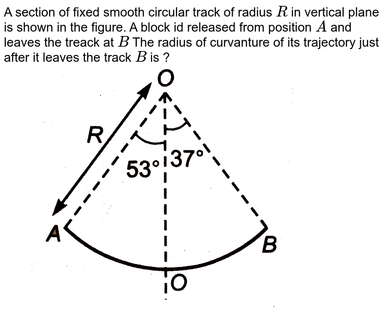 """A section of fixed smooth circular track of radius `R` in vertical plane is shown in the figure. A block id released from position `A` and leaves the treack at `B` The radius of curvanture of its trajectory just after it leaves the track `B` is ?  <img src=""""https://d10lpgp6xz60nq.cloudfront.net/physics_images/DCP_V01_C10_E01_062_Q01.png"""" width=""""80%"""">"""
