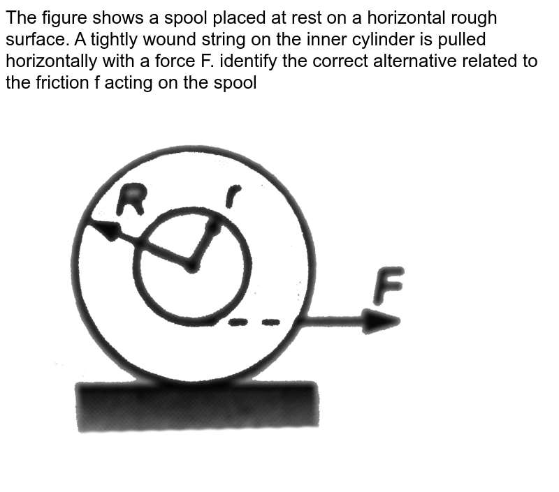 """The figure shows a spool placed at rest on a horizontal rough surface. A tightly wound string on the inner cylinder is pulled horizontally with a force F. identify the correct alternative related to the friction f acting on the spool<br><img src=""""https://d10lpgp6xz60nq.cloudfront.net/physics_images/DCP_V02_C12_E01_143_Q01.png"""" width=""""80%"""">"""