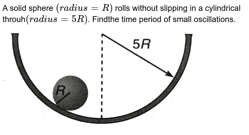"""A solid sphere `(radius = R)` rolls without slipping in a cylindrical throuh`(radius = 5R)`. Findthe time period of small oscillations. <br> <img src=""""https://d10lpgp6xz60nq.cloudfront.net/physics_images/DCP_VO2_C14_S01_048_Q01.png"""" width=""""80%"""">"""