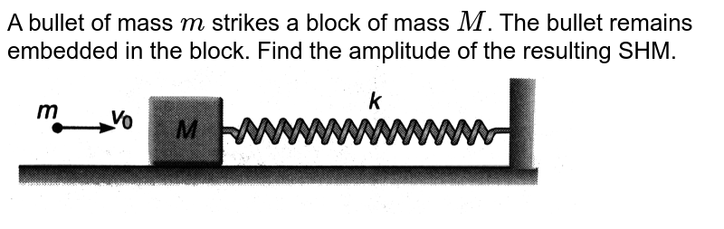 """A bullet of mass `m` strikes a block of mass `M`. The bullet remains embedded in the block. Find the amplitude of the resulting SHM. <br> <img src=""""https://d10lpgp6xz60nq.cloudfront.net/physics_images/DCP_VO2_C14_E01_059_Q01.png"""" width=""""80%"""">"""