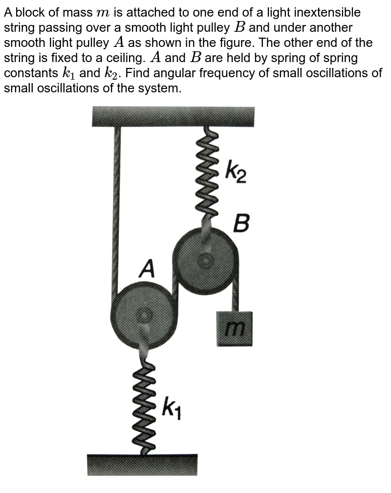 """A block of mass `m` is attached to one end of a light inextensible string passing over a smooth light pulley `B`  and under  another smooth light pulley `A` as shown in the figure. The other end of the string is fixed to a ceiling. `A` and `B` are held by spring of spring constants `k_(1)` and `k_(2)`. Find angular frequency of small oscillations of small oscillations of the system. <br> <img src=""""https://d10lpgp6xz60nq.cloudfront.net/physics_images/DCP_VO2_C14_E01_122_Q01.png"""" width=""""80%"""">"""