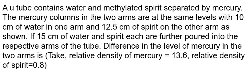 A u tube contains water and methylated spirit separated by mercury. The mercury columns in the two arms are at the same levels with 10 cm of water in one arm and 12.5 cm of spirit on the other arm as shown. If 15 cm of water and spirit each are further poured into the respective arms of the tube. Difference in the level of mercury in the two arms is (Take, relative density of mercury = 13.6, relative density of spirit=0.8)