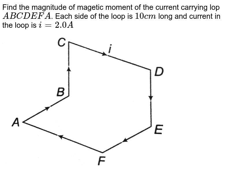 """Find the magnitude of magetic moment of the current carrying lop `ABCDEFA`. Each side of the loop is `10 cm` long and current in the loop is `i=2.0A` <br> <img src=""""https://d10lpgp6xz60nq.cloudfront.net/physics_images/DCP_VOL_4_C26_S01_011_Q01.png"""" width=""""80%"""">"""