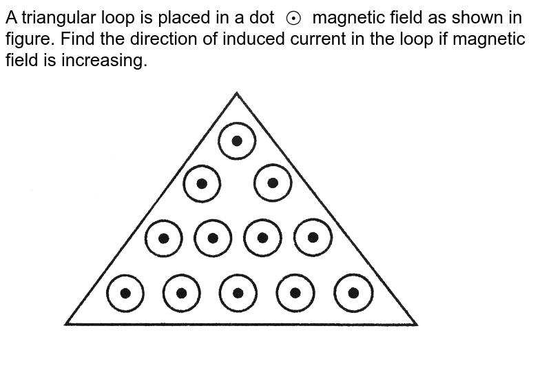 """A triangular loop is placed in a dot `o.` magnetic field as shown in figure. Find the direction of induced current in the loop if magnetic field is increasing. <br> <img src=""""https://d10lpgp6xz60nq.cloudfront.net/physics_images/DCP_V04_C27_E01_004_Q01.png"""" width=""""80%"""">"""