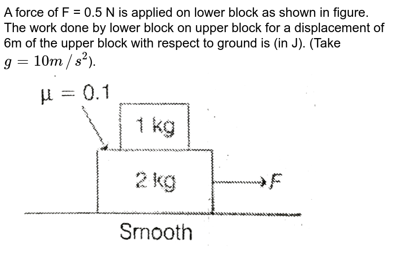 """A force of F = 0.5 N is applied on lower block as shown in figure. The work done by lower block on upper block for a displacement of 6m of the upper block with respect to ground is (in J). (Take `g = 10 m//s^(2)`).  <br>  <img src=""""https://d10lpgp6xz60nq.cloudfront.net/physics_images/MPP_PHY_C05_E01_139_Q01.png"""" width=""""80%"""">"""